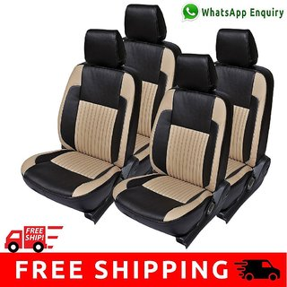 Hi Art Black and Beige Leatherite Custom Fit Seat Covers for Maruti WagonR Old - Complete Set