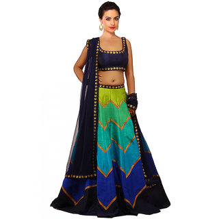 FABLIVA MULTI PRINTED RAW-SILK LEHENGHA