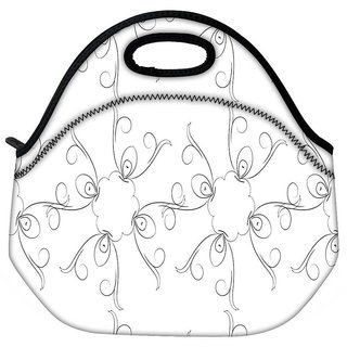 Snoogg Grey Sketch Floral Travel Outdoor CTote Lunch Bag