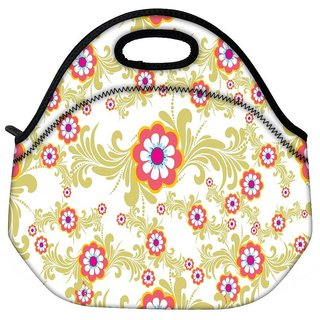 Snoogg White Cream Pattern Travel Outdoor CTote Lunch Bag