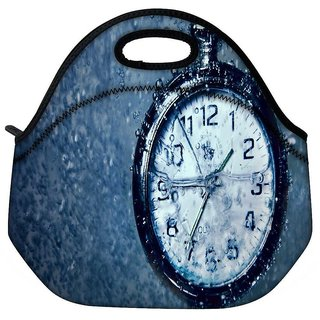 Snoogg Clock In The Rain Travel Outdoor Tote Lunch Bag