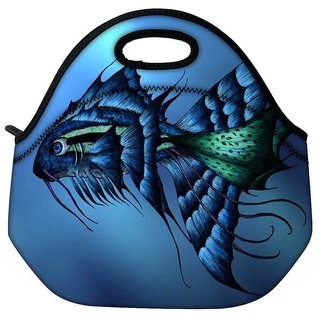 Snoogg Dark Blue Fish Travel Outdoor Tote Lunch Bag