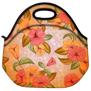 Snoogg Colorful Flowers Travel Outdoor CTote Lunch Bag