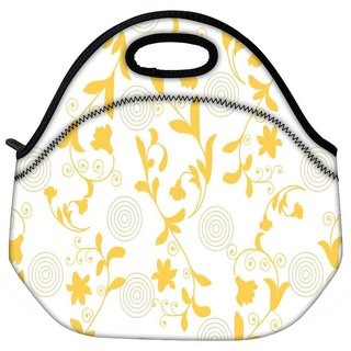 Snoogg Yellow Leaves Travel Outdoor CTote Lunch Bag