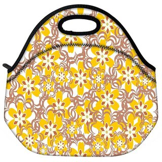 Snoogg Yellow Flowers Travel Outdoor CTote Lunch Bag