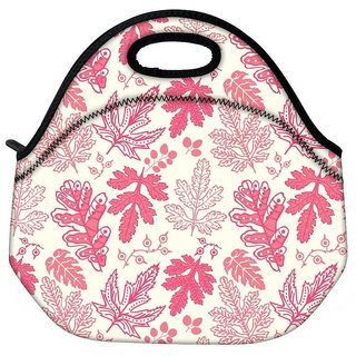 Snoogg Red Leaves Travel Outdoor CTote Lunch Bag