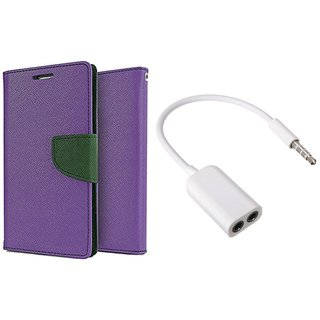 Micromax Bolt D320 WALLET FLIP CASE COVER (PURPLE) With AUX SPLITTER