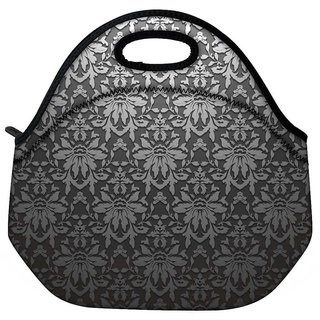 Snoogg Grey Pattern Black Travel Outdoor CTote Lunch Bag