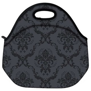 Snoogg Grey And Black Pattern Travel Outdoor CTote Lunch Bag