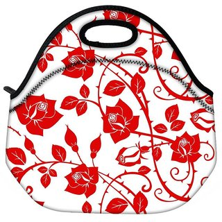 Snoogg Red Roses And Leaves Travel Outdoor CTote Lunch Bag