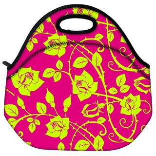 Snoogg Yellow Roses Leaves Travel Outdoor CTote Lunch Bag