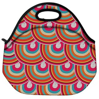 Snoogg Mixed Colors Pattern Travel Outdoor CTote Lunch Bag