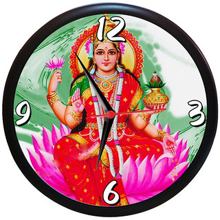 Sky Trends Diwali Gift Shri Maa Laxmi Ji Wall Clock  Analog  (Multicolour, With Frame)Unique Gifts 9 inc