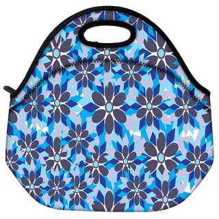 Snoogg Grey Floral Blue Travel Outdoor CTote Lunch Bag