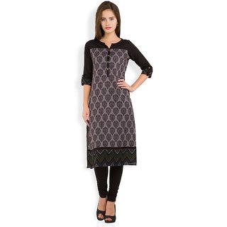 Vishudh Black Printed Cotton Stitched Kurti