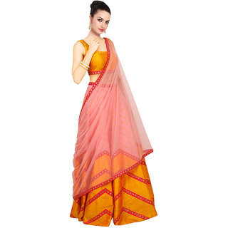 FABLIVA YELLOW  LIGHT PINK PRINTED RAW-SILK LEHENGHA
