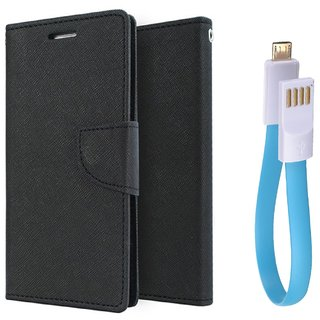 Reliance Lyf Wind 6 WALLET FLIP CASE COVER (BLACK) With Magnet Micro USB Cable