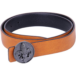 Black Buck Men, Boys Formal Multicolor Genuine Leather Belt  (GOLD)