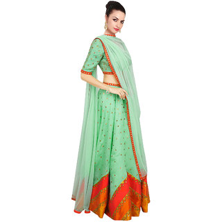 FABLIVA LIGHT GREEN  MULTI PRINTED RAW-SILK LEHENGHA