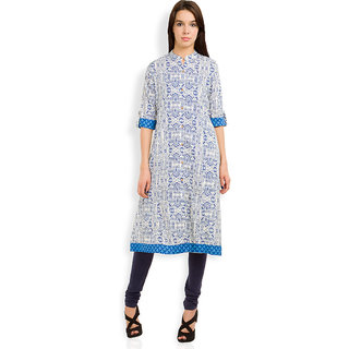 Vishudh Beige Cotton Mandarin Collar 3/4th Sleeve Printed Kurta