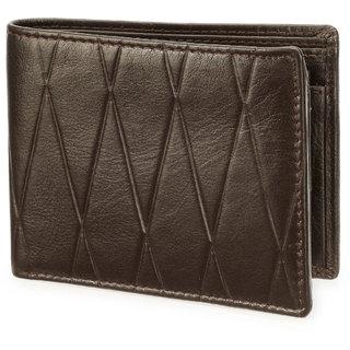 Arum Stylish Brown Zigzag Leather Wallet