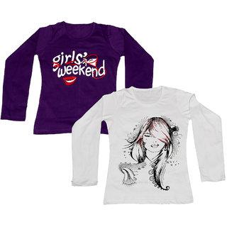 IndiWeaves Girls Cotton Round Neck Full Sleeves Printed T-Shirt (Set of -2)