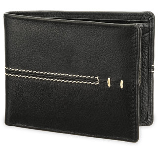 Arum Stylish Black  White line Leather Wallet ABMWD0014
