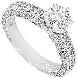 LoveBrightJewelry 18K White Gold & Diamond Alluring Engagement Ring- 1.50 CT