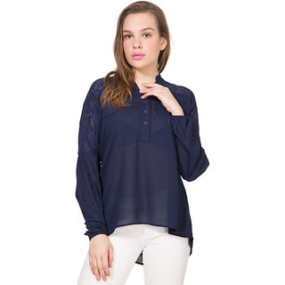 Folklore Blue Polyester Mandarin Collar Long Sleeve Solid Top