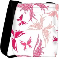 Snoogg Big Unique Butterfly White Pattern Designer Womens Carry Around Cross Body Tote Handbag Sling Bags RPC-10119-SLTOBAG