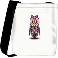 Snoogg Cute Owl Painting Wide Designer Womens Carry Around Cross Body Tote Handbag Sling Bags RPC-6711-SLTOBAG
