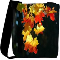 Snoogg Autumn Leaves In Trees Designer Womens Carry Around Cross Body Tote Handbag Sling Bags RPC-7642-SLTOBAG