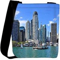 Snoogg Abstract Buildings Designer Womens Carry Around Cross Body Tote Handbag Sling Bags RPC-9369-SLTOBAG