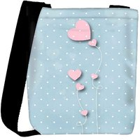 Snoogg Pink Balloons Blue Dots Designer Protective Back Case Cover For Oneplus 3 Designer Womens Carry Around Cross Body Tote Handbag Sling Bags RPC-3650-SLTOBAG