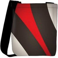 Snoogg Red And Brown Stripes Designer Womens Carry Around Cross Body Tote Handbag Sling Bags RPC-7237-SLTOBAG