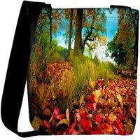 Snoogg Dry Leaves On Ground Designer Womens Carry Around Cross Body Tote Handbag Sling Bags RPC-7658-SLTOBAG
