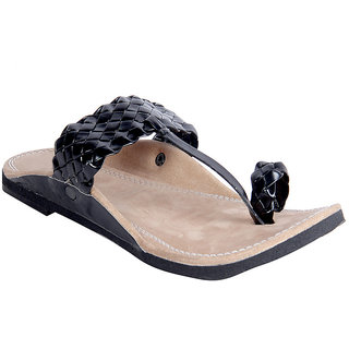 Routeen Men's Black Ethnic Sandal