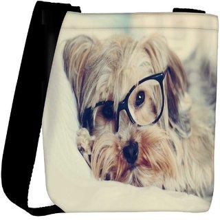 Snoogg Cute Dog With Glasses Designer Womens Carry Around Cross Body Tote Handbag Sling Bags RPC-6717-SLTOBAG