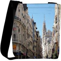 Snoogg White Buildings Designer Womens Carry Around Cross Body Tote Handbag Sling Bags RPC-8779-SLTOBAG