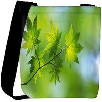 Snoogg Green Leaves On Tree Designer Womens Carry Around Cross Body Tote Handbag Sling Bags RPC-9530-SLTOBAG