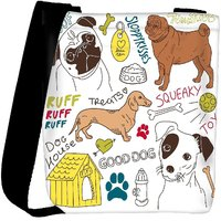 Snoogg I Love Dogs Vector Doodles Set Designer Protective Back Case Cover For Oneplus 3 Designer Womens Carry Around Cross Body Tote Handbag Sling Bags RPC-4662-SLTOBAG