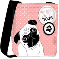 Snoogg I Love Pugs Cute Little Pug On Polka Dot Background Designer Protective Back Case Cover For Oneplus 3 Designer Womens Carry Around Cross Body Tote Handbag Sling Bags RPC-4663-SLTOBAG