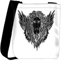Snoogg Lion With Wings Vector T Shirt Design Designer Protective Back Case Cover For Oneplus 3 Designer Womens Carry Around Cross Body Tote Handbag Sling Bags RPC-4739-SLTOBAG