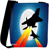 Snoogg Moon And Jet Fighters Designer Womens Carry Around Cross Body Tote Handbag Sling Bags RPC-4805-SLTOBAG