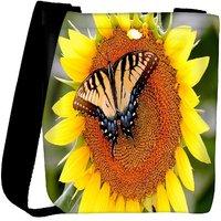 Snoogg Butterfly Seeking Honey From Sunflower Designer Womens Carry Around Cross Body Tote Handbag Sling Bags RPC-7901-SLTOBAG