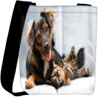 Snoogg Dog Playing With Cat Designer Womens Carry Around Cross Body Tote Handbag Sling Bags RPC-7923-SLTOBAG