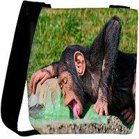 Snoogg Chimpanese Drinkng Water Designer Womens Carry Around Cross Body Tote Handbag Sling Bags RPC-8898-SLTOBAG