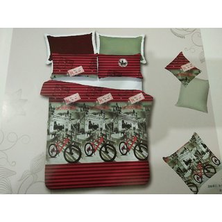 Akash Ganga Multicolor Cotton Double 1 Bedsheet With 2 Pillow Covers(HAR-01)