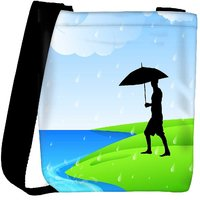 Snoogg Abstract Rainy Season Background With Silhouette Of A Man Holding Umbrella Designer Protective Back Case Cover For Oneplus 3 Designer Womens Carry Around Cross Body Tote Handbag Sling Bags RPC-3792-SLTOBAG