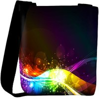 Snoogg Abstract Shiny Wave Background Ic Rgb Designer Protective Back Case Cover For Oneplus 3 Designer Womens Carry Around Cross Body Tote Handbag Sling Bags RPC-3804-SLTOBAG